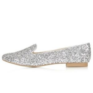 Topshop Metallic Sparrow Glitter Slipper Shoes